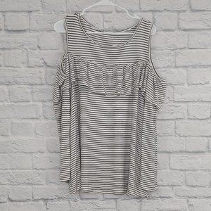 Jodifl | Striped Cold-Shoulder w/ Ruffle Blouse